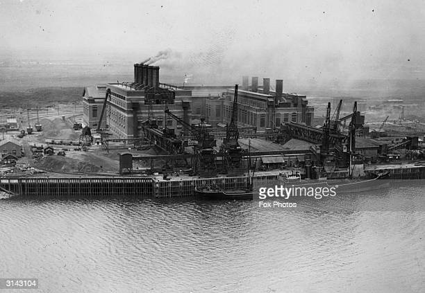 A view of Barking Power Station on the North bank of the Thames Greater London