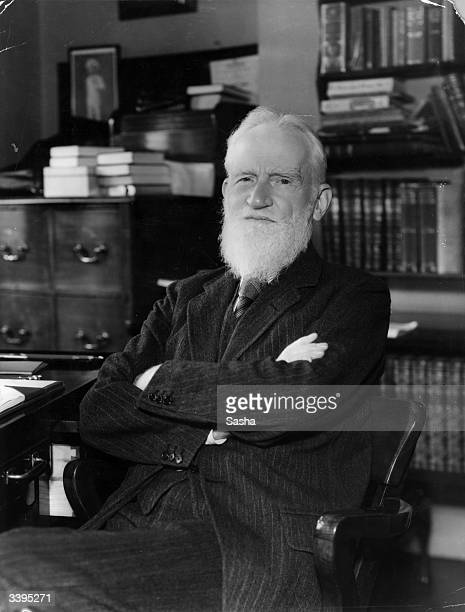 Irish dramatist George Bernard Shaw at his flat in London