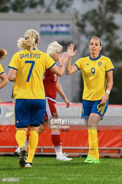 Lisa Dahlkvist and Kosovare Asllani of Sweden Women celebrating their goal during the match between Sweden v Russia Women's Algarve Cup on March 8th...