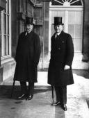Sir Joseph Austen Chamberlain the British Foreign Secretary arrives for a conference in Paris with Lord Crewe