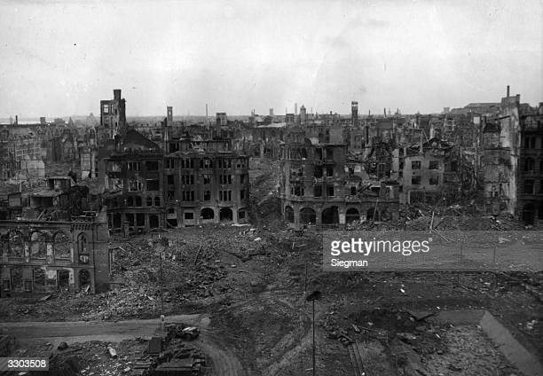 A scene of destruction in Cologne at the time of occupation by Allied Forces