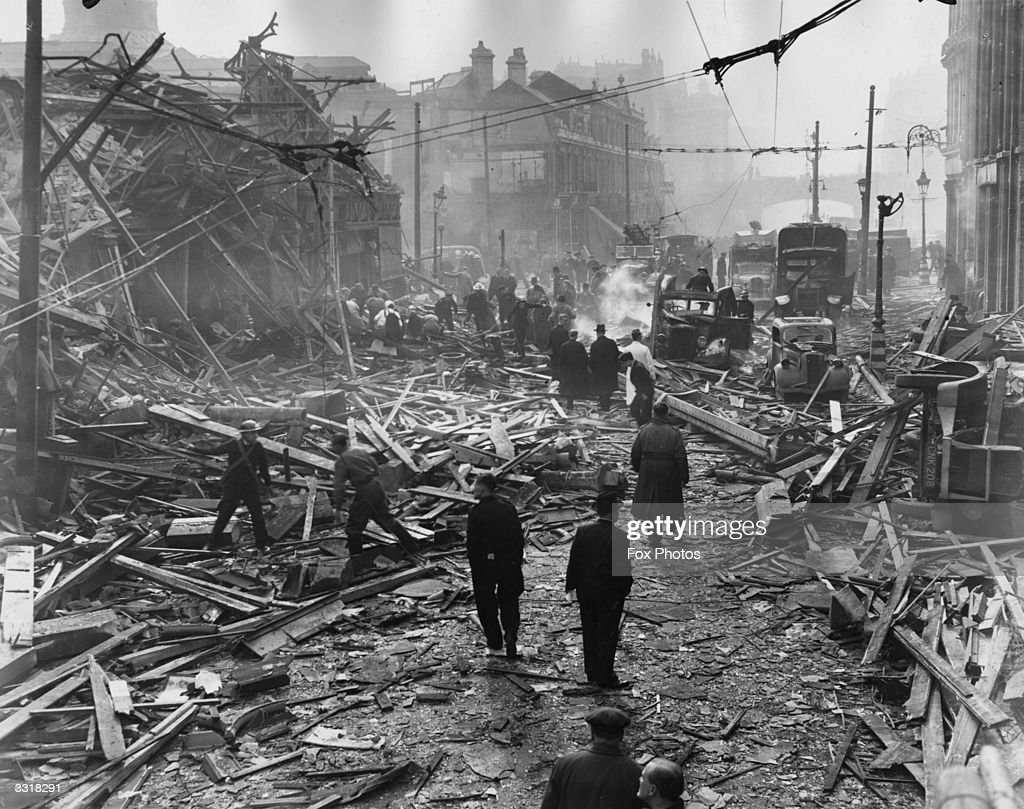 The scene in Farringdon Road, London, after a V-2 rocket had fallen in daylight on the Central Markets.