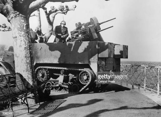 A motorised antiaircraft gun at EvianLesBains in France where the Algerian peace talks are taking place