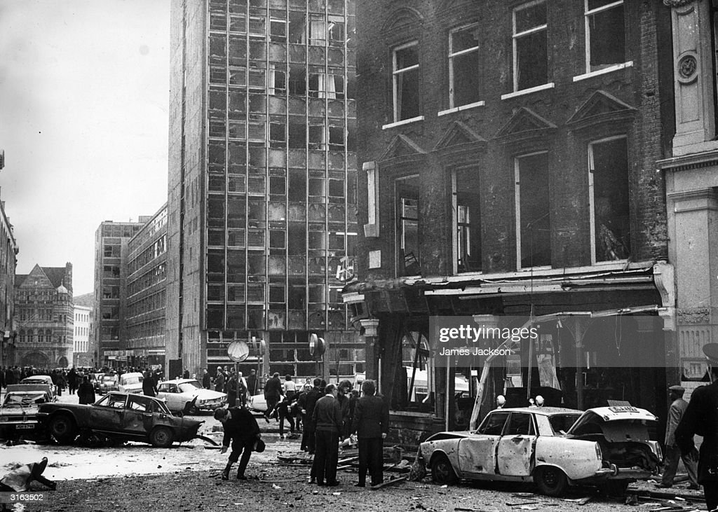 An office block loses all its windows as the result of a terrorist explosion at the Old Bailey at the time of the 1973 referendum in Northern Ireland. The Provisional IRA claimed responsibility for the attack.