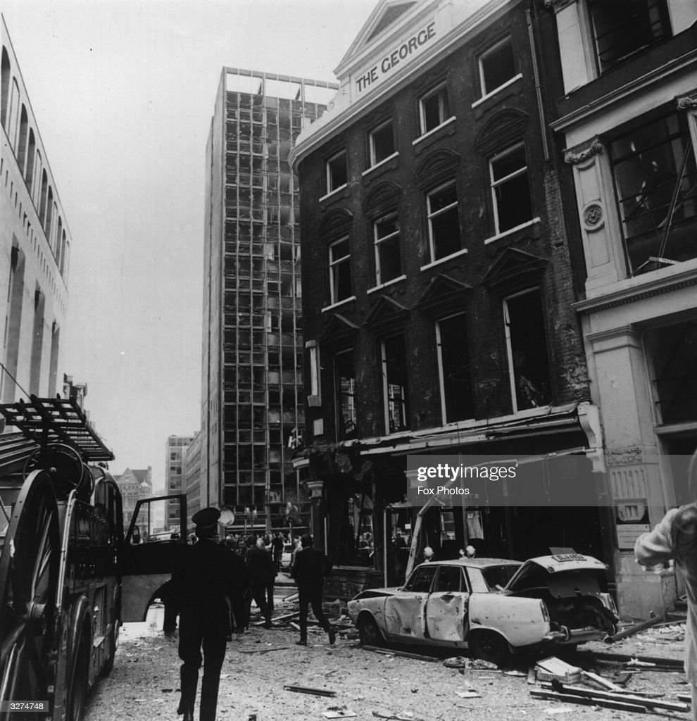 The aftermath of a car bomb, left in a Ford Cortina in London.