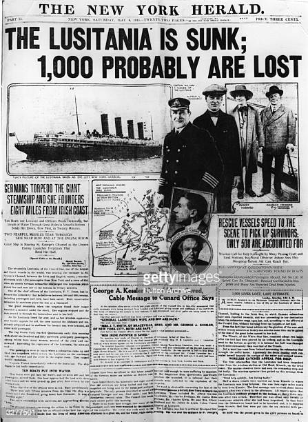 Front page of the New York Herald newspaper carrying the news of the sinking of the British liner the 'Lusitania' by a German submarine on the 7th...