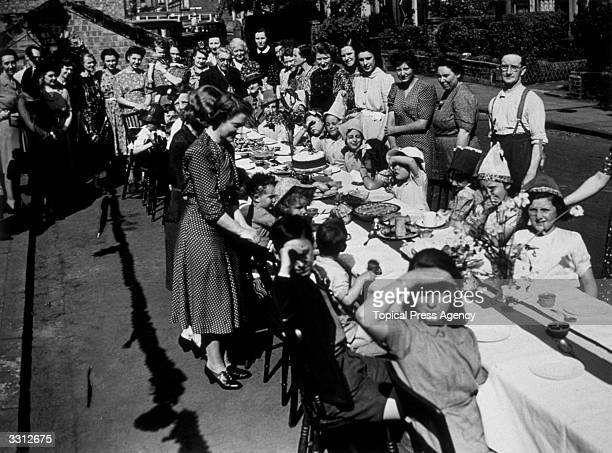 A victory tea party was given to children at Amber Road Finsbury Park in London to celebrate VE Day