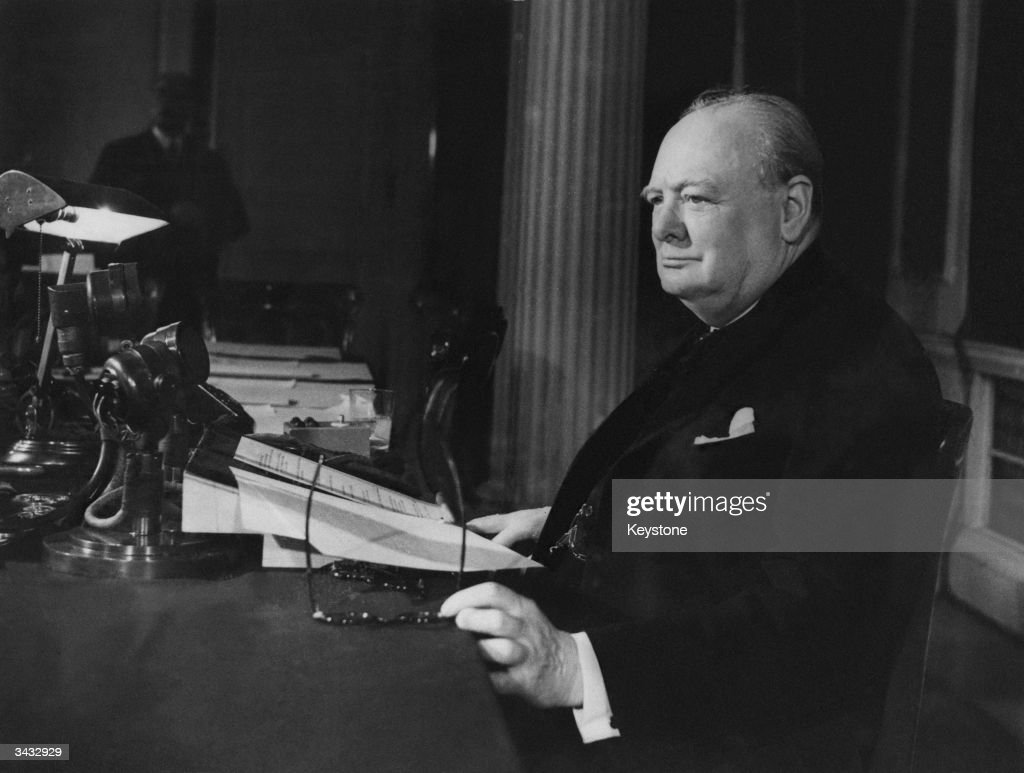Prime Minister of Great Britain Winston Churchill (1874 - 1965) makes his VE Day Broadcast to the world.