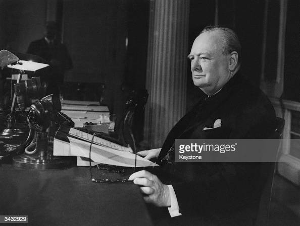 Prime Minister of Great Britain Winston Churchill makes his VE Day Broadcast to the world