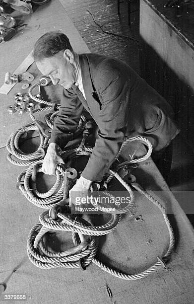 Completing hangman's ropes in John Edgington's London workshop In Britain this rope is only used for one job execution Original Publication Picture...