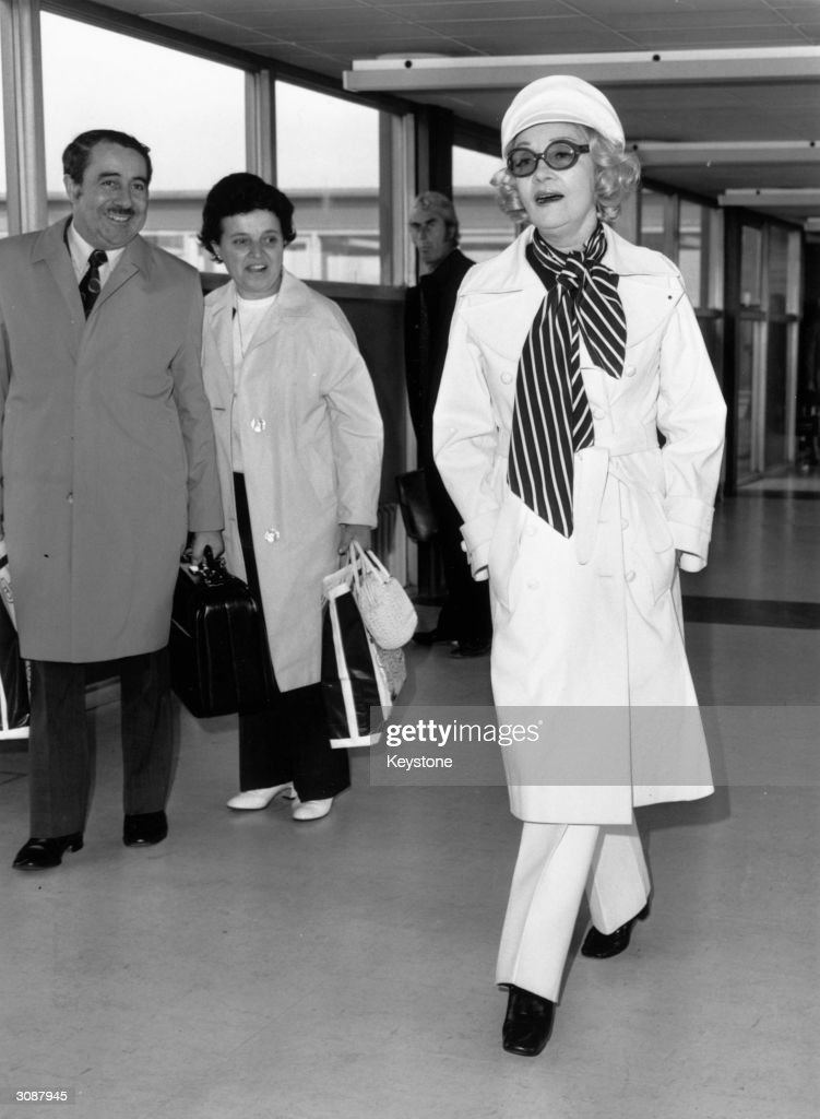 German born American actress Marlene Dietrich (1901 - 1992) arriving at Heathrow Airport, London.