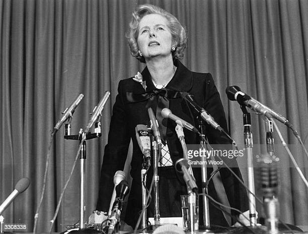 Margaret Thatcher at a press conference