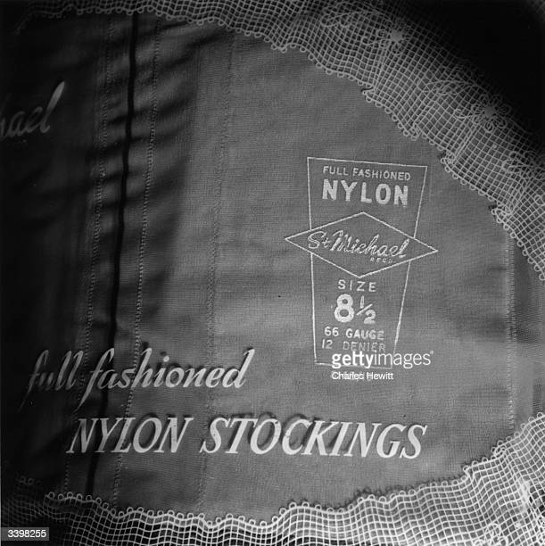 A display of nylon stockings from St Michael the brand name of Marks and Spencers Original Publication Picture Post 8437 Scientific Shopping unpub