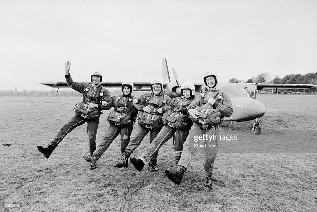 Sally Bowley three day eventer, Jim Fox Olympic pentathlete, Julian Seaman three day eventer, Gary Wallace MP and Adrian prepare for a stunt parachute jump.