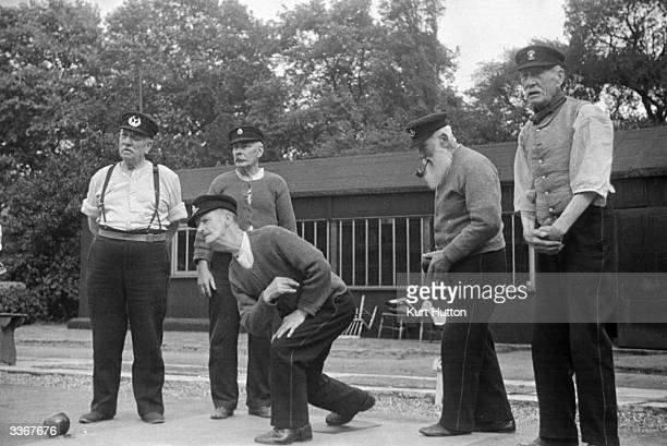 Chelsea Pensioners playing bowls at the Royal Hospital Chelsea London Original Publication Picture Post 29 The Life Of A Chelsea Pensioner pub 1938
