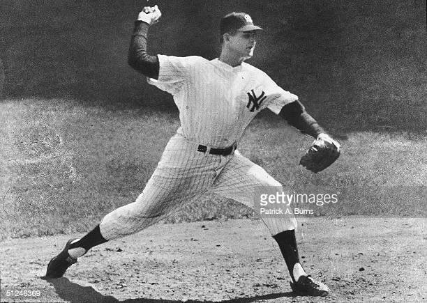 8th October 1956 American baseball pitcher Don Larsen of the New York Yankees in his new windup which baffled the Brooklyn Dodgers in the 5th game of...