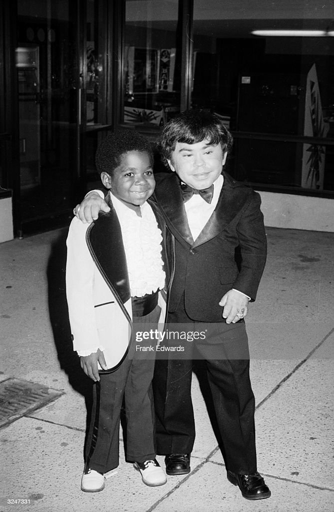 American child actor Gary Coleman (left) and French actor Herve Villechaize (1943 - 1993) posing together in tuxedos at the Fifth Annual Emmy Awards Banquet, Exhibition Hall of Pasadena Center, Pasadena, California. Coleman was appearing in the television series, 'Diff'rent Strokes' and Villechaize in 'Fantasy Island'.