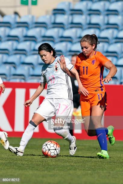 Yui Hasegawa of Japan Women challenges Lieke Martens of Netherlands Women during the match between Japan v Netherlands Women's Algarve Cup on March...