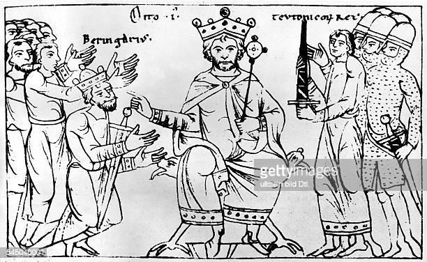 *912973Deutscher König 936973 römischer Kaiser 951973mit Berengar aus der Chronik Ottos v Freising 12 Jahrhundert