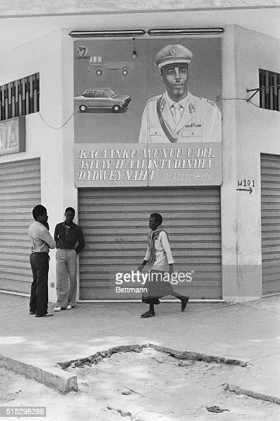 9/17/1982Mogadishu Somalia Everywhere in the Somali seaside capital of Mogadishu are posters of President Siad Barre urging the people to work harder...