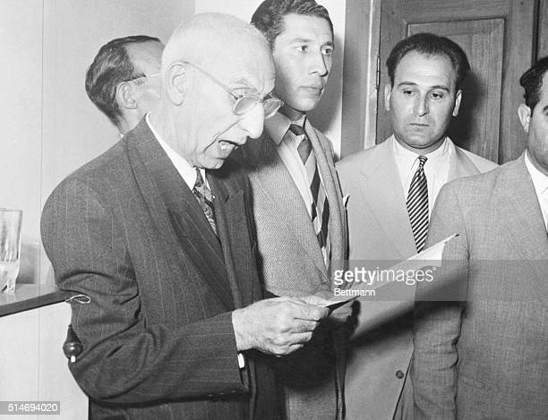 Premier Mohammed Mossadegh of Iran is shown at the press conference where they announced to newsmen that he was rejecting the offer made by the US...