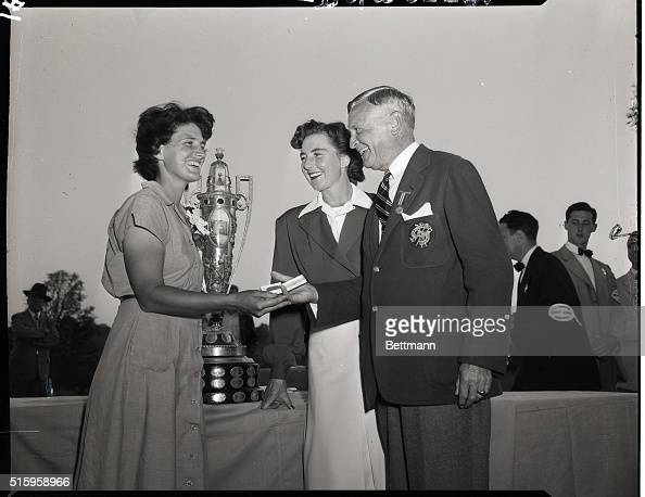 9/18/1949Ardmore PA Mrs Mark A Porter of Manoa Pennsylvania winner in the finals of the Women's National Golf Tournament at the Merion Golf Club is...