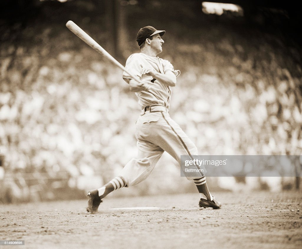 9/19/1949StLouis MO In violent action here you see Mr Stanley 'The Man' Musial sparkplug and mainspring of the St Louis Cardinals whose murderous...
