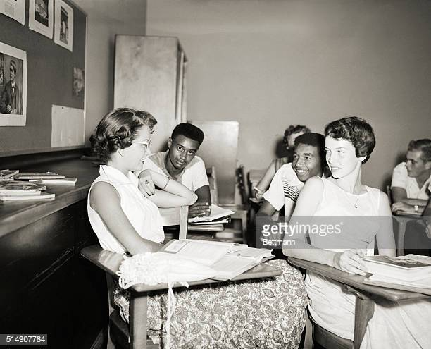 9/19/1955Oak Ridge TN Joe West and Archie Lee chat with classmates while awaiting the start of history class at Oak Ridge High School September 19...