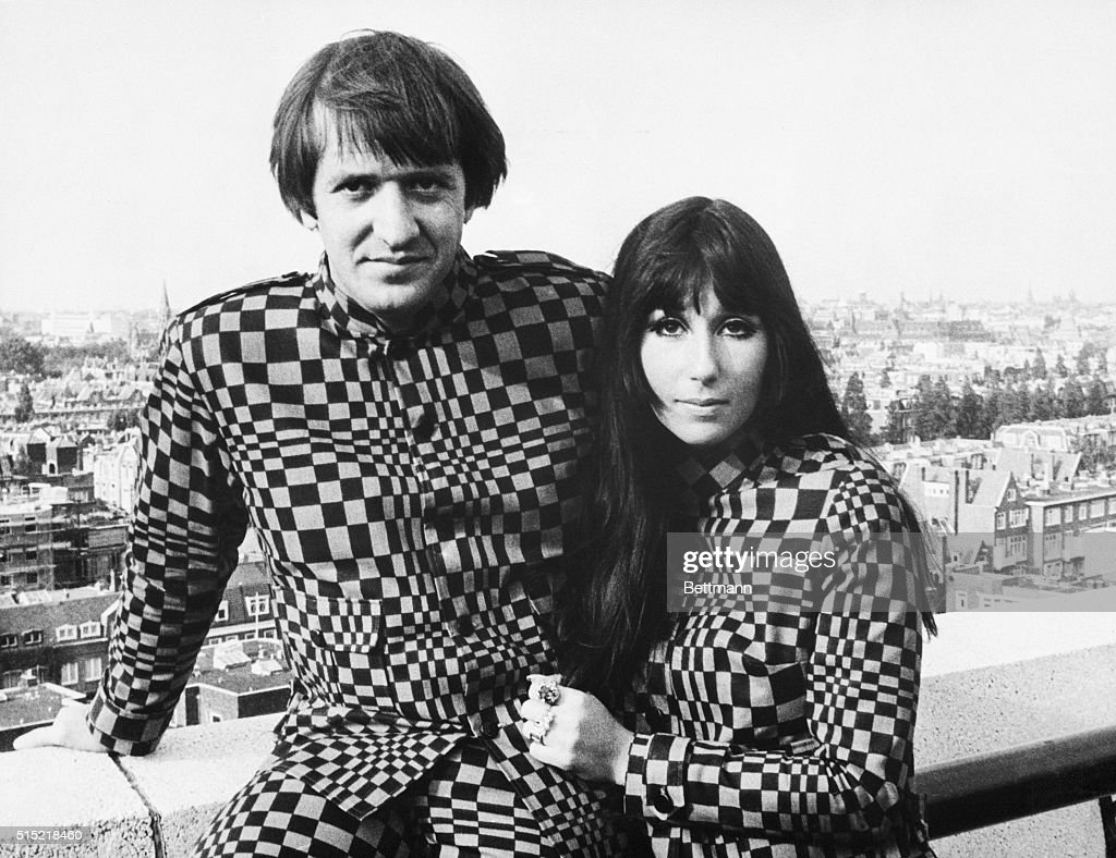 Frankfurt, Germany- U.S. recording stars Sonny and Cher caused a stir in German fashion circles by sporting matching supermod suits (checker-board pattern), for both formal and informal wear. The husband and wife team, currently on a concert tour of Europe, continually face a problem of being refused admission to hotels and restaurants because of their unusual attire.