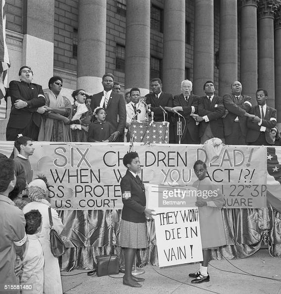 9/22/1963New York NY Thousands gathered at a rally to protest the murder of the children of Birmingham and to demand federal protection of negro...