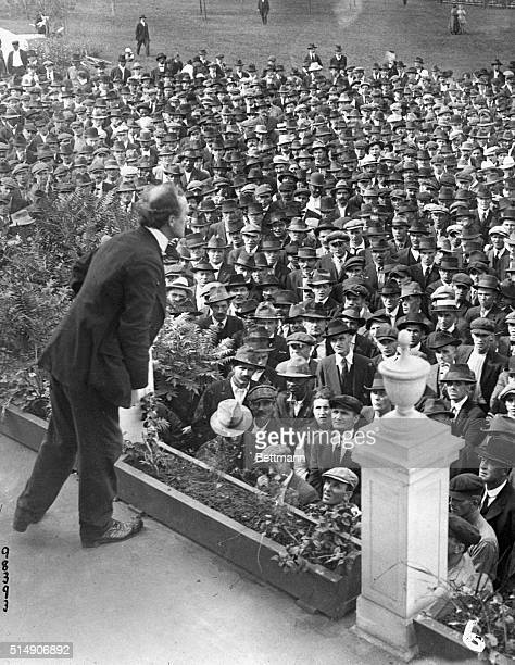 9/24/1919Gary Indiana A strike agitator addressing the strikers at a mass meeting at East End Park
