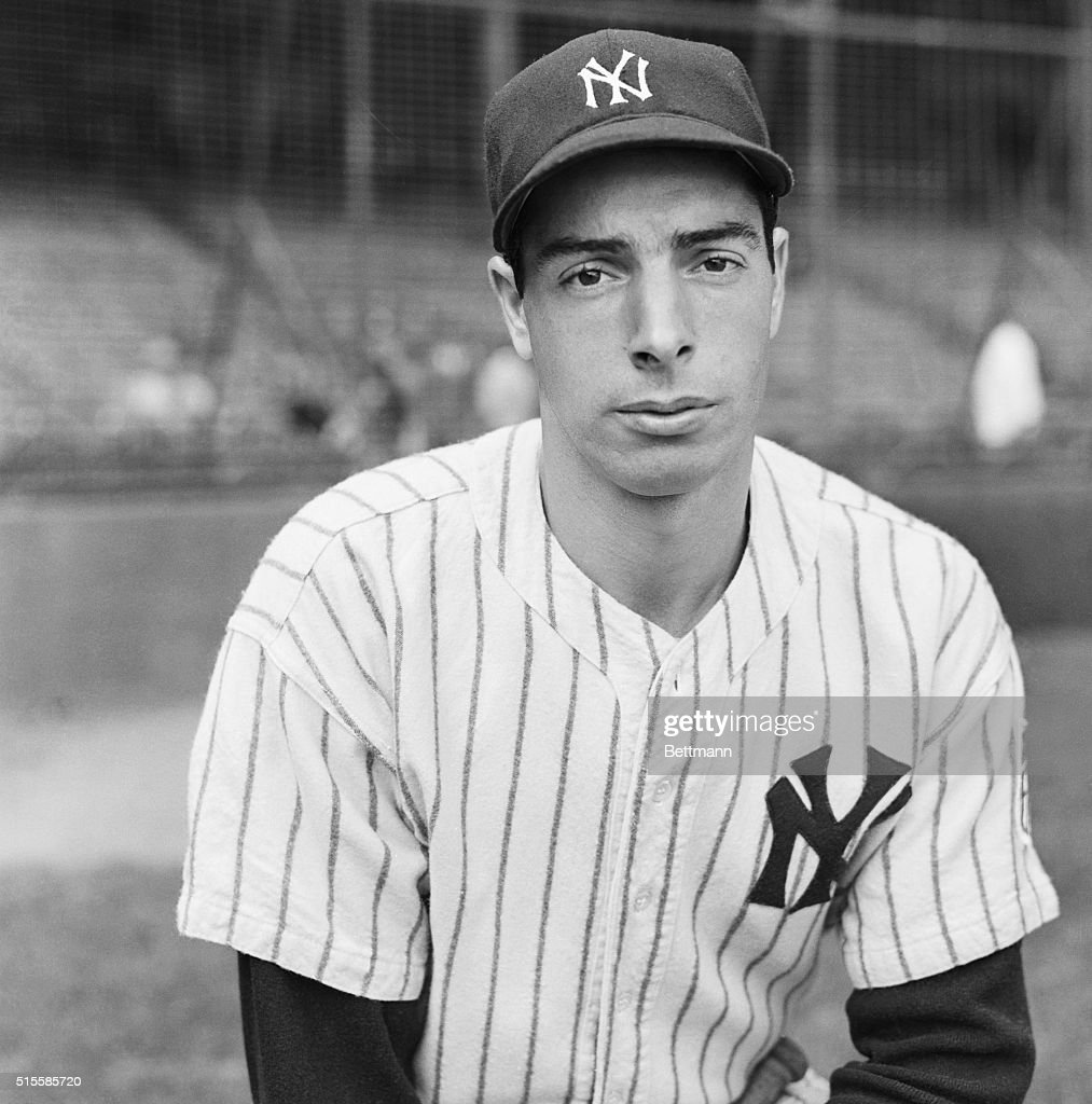 New York, NY Joe DiMaggio, ace batter and outfielder of the New York Yankees, should be happy because his team won the American League pennant, but he doesn't look it. Maybe he's reflecting on the confusing affairs of the National Leaguers, whom he'll have to battle in the World Series.