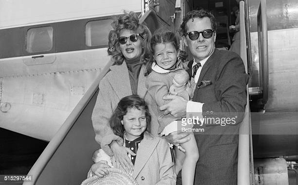 9/26/1953New York NY Newlyweds actress Rita Hayworth and singer Dick Haymes pose with Rita's two daughters form previous marriages Yasmin and Rebecca...
