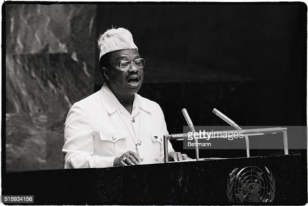 9/26/1979New York NY United Nations President William R Tolbert Jr of Liberia addressing a session of the 34th U N General Assembly here 9/26 accuses...