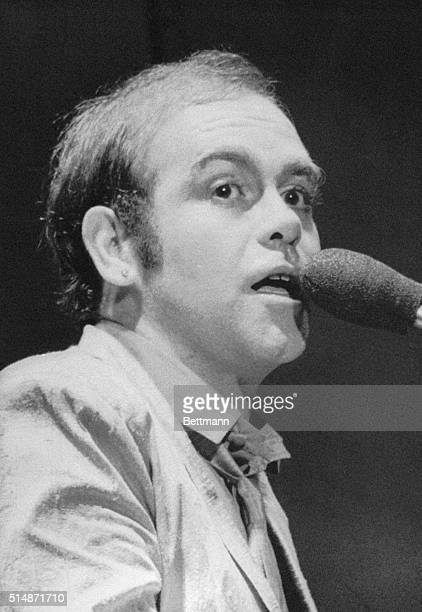 9/28/1979Hollywood CA A nervous Elton John bald spot covered with a thin layer of transplanted hair outrageous glasses replaced with contact lenses...