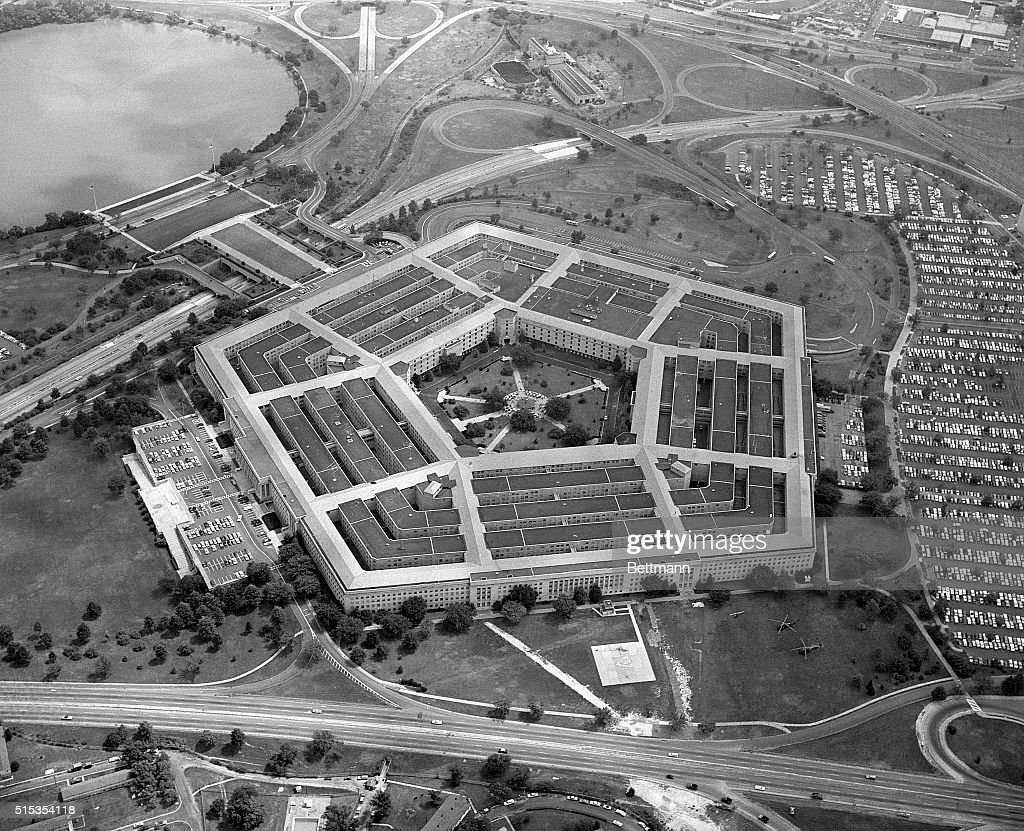 9/5/1963Washington DC Flying over the Virginia side of the Potomac River the impressive site of the world's largest office building crops into view...