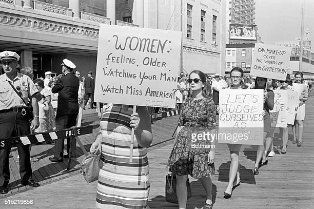 9/7/1968Atlantic City NJDemonstrators picketing the Miss America Pageant are shown as they await the hour when the new Miss America will be named A...