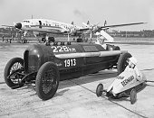 9/9/1957Frankfurt Germany The old and the young of auto racing are shown here as 13 year old Dieter Menne in his soap box car is seen off at Rhine...