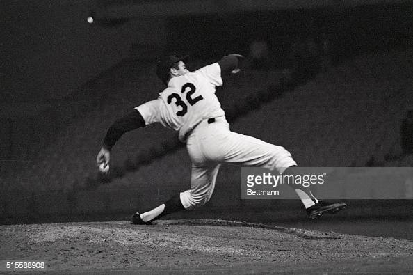 9/9/1965Los Angeles CA Sandy Koufax who later claimed to have known all along he was pitching a nohitter shows the strain of a perfect game in this...