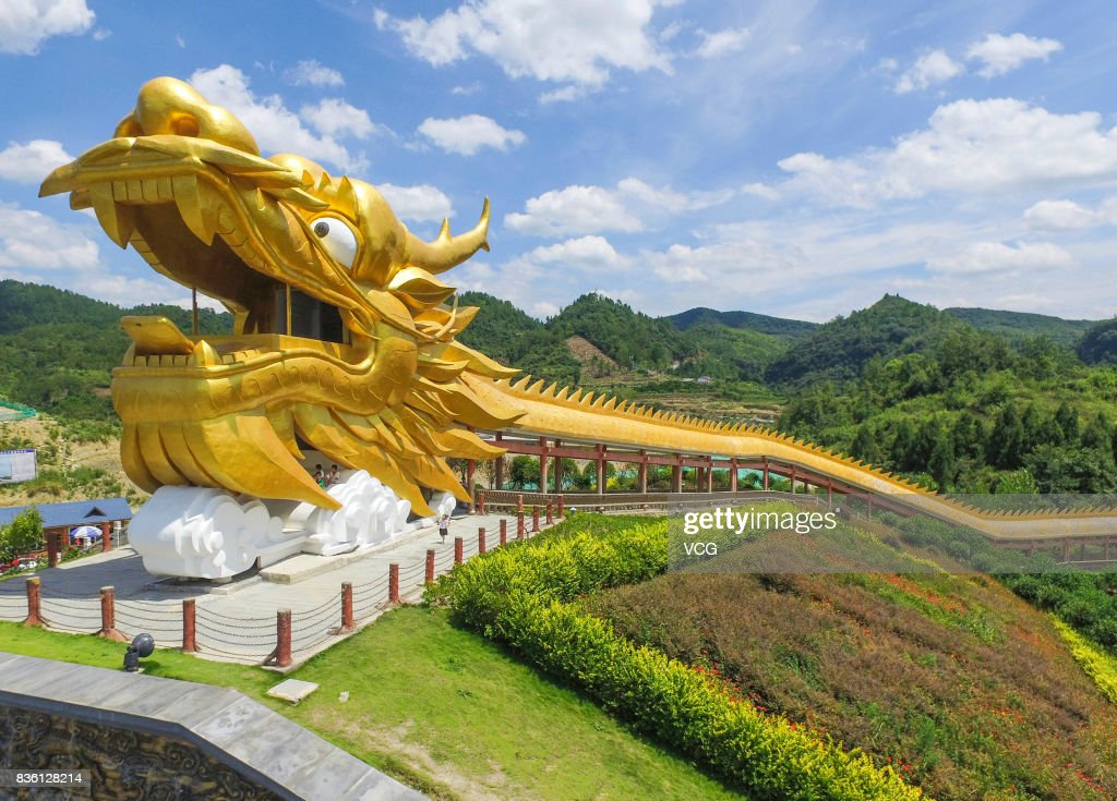A 999-meter-long dragon shaped corridor stretches along the Feilong Lake on August 19, 2017 in Zunyi, Guizhou Province of China. A 8-meter-wide, 5-meter-tall and 999-meter-long corridor was built like a dragon along the Feilong Lake in Zunyi.