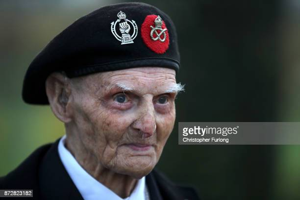 99yearold World War II veteran Les Cherrington attends the annual Armistice Day Service at The National Memorial Arboretum on November 11 2017 in...