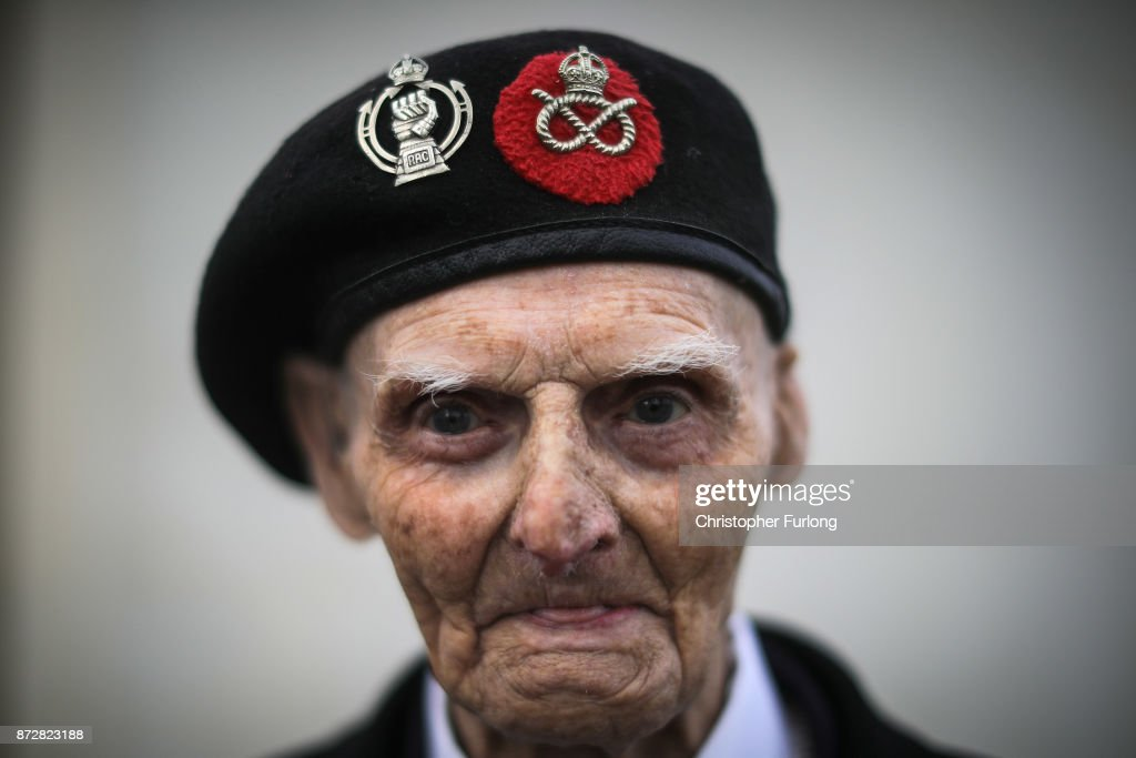 99-year-old World War II veteran Les Cherrington attends the annual Armistice Day Service at The National Memorial Arboretum on November 11, 2017 in Alrewas, England. Armistice Day traditionally marks the end of the WWI when Germany and the allied forces signed the armistice signaling the end of hostilities on the Western Front. The cessation of the war officially took effect on the eleventh hour of the eleventh day of the eleventh month and is marked annually by services of remembrance for all those who have fallen in wars and a two minute silence.