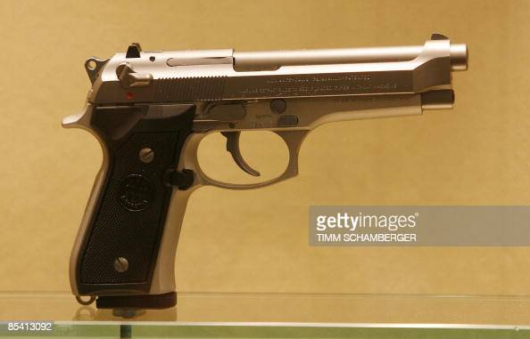 A 9mm Beretta pistol is on display at the weapons trade fair in the southern German city of Nuremberg on March 13 2009 A heated debate on gun control...