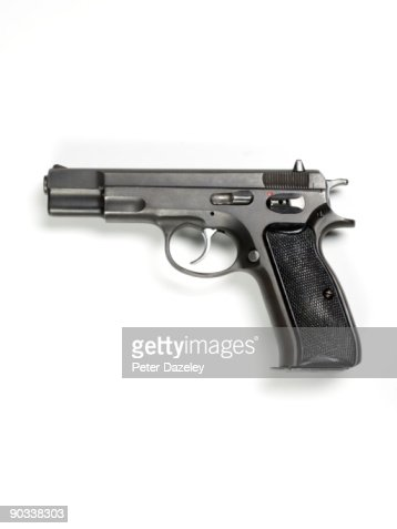 9mm hand gun on white background. : Stock Photo