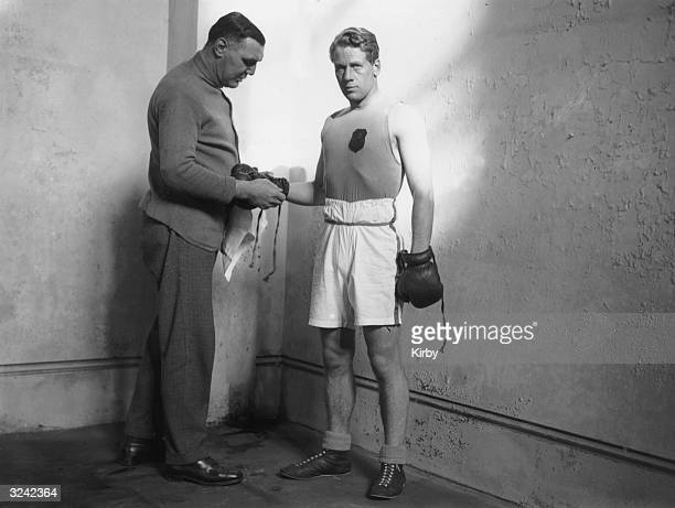 The Marquis of Clydesdale with his trainer Dick Smith during the amateur boxing championships at Alexandra Palace