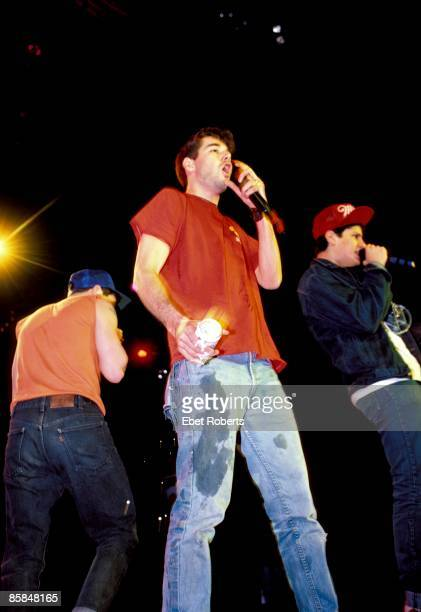American hip hop group Beastie Boys perform live on stage at the Centrum in Worcester Massachusetts USA on April 9th 1987 Left to right AdRock MCA...