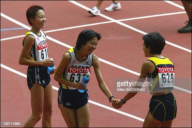 9Th Athletics World Championship In St Denis On August 31 2003 In SaintDenis France Japan'S Masako Chiba 3Rd Japan'S Naoko Sakamoto 4Th Andjapan'S...