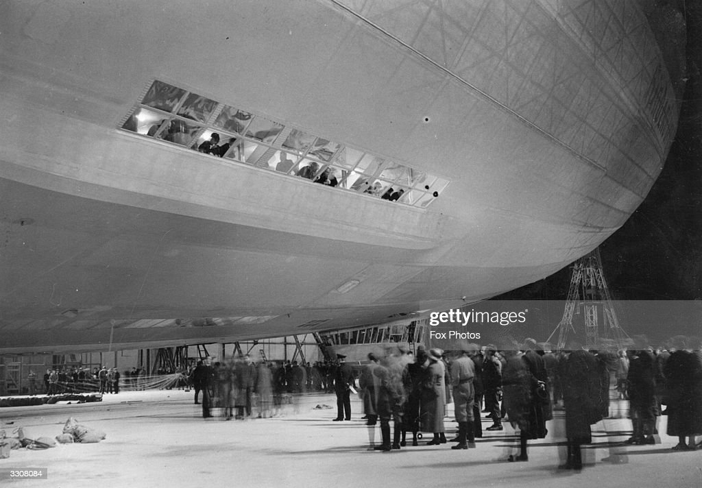 The Hindenburg, Zeppelin LZ-129, being taken out of its hangar at Friedrichshafen before leaving for New York.