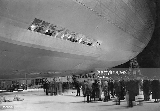 The Hindenburg Zeppelin LZ129 being taken out of its hangar at Friedrichshafen before leaving for New York