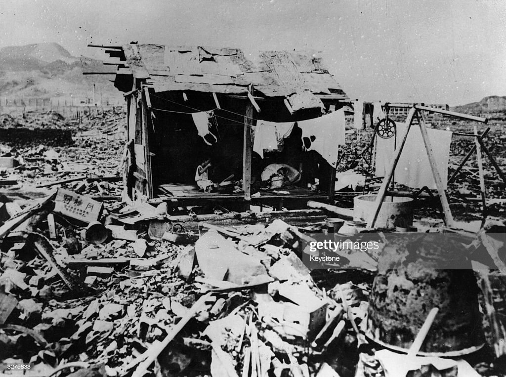 A makeshift house made from the rubble left by the atomic bomb explosion in Nagasaki